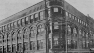 black and while photo of historic bank buildin
