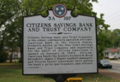 historic plaque for Citizens Savings Bank and Trust Company